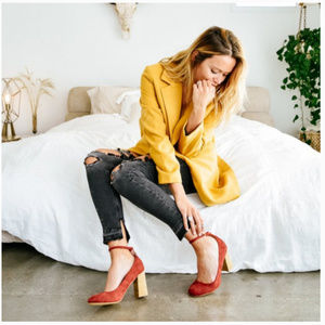Mi.iM Red Kylie Leather Suede Mary Janes Pumps